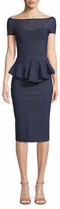 Chiara Boni Off-The-Shoulder Illusion Peplum Dress