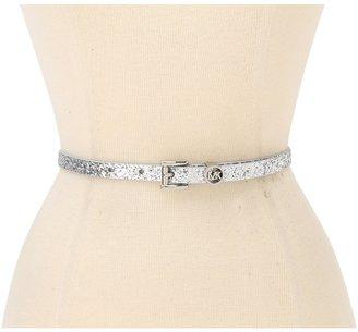 MICHAEL Michael Kors Michael Kors Glitter Belt With Mk Logo Loop (Silver) - Apparel