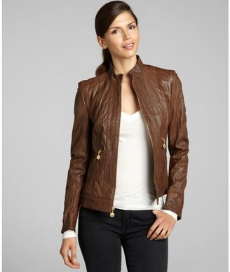 Betsey Johnson brown leather floral cutout trim zip jacket