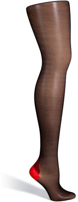 Fogal Black/Coral Provocation Stockings