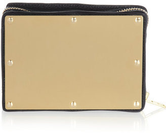Sophie Hulme Textured-leather and brass box clutch