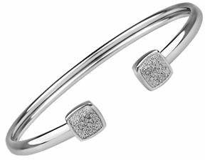 Tag Heuer FINE JEWELLERY Sterling Silver Cushion Bangle Bracelet with 0.10 TCW Diamonds