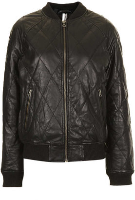 Topshop Large Quilt Leather Bomber