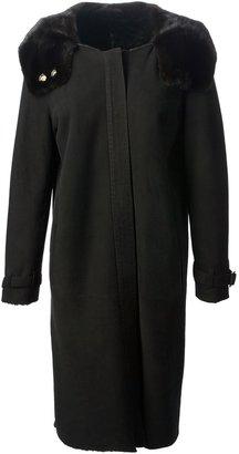 Gianfranco Ferre mink collar sheepskin coat