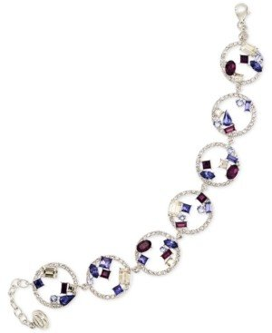 Simone I. Smith Blue, Purple and White Crystal Bracelet in Platinum over Sterling Silver