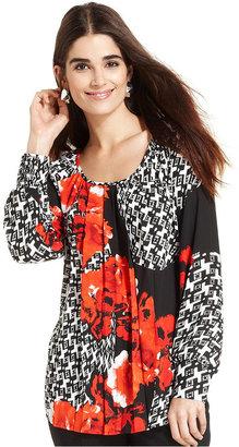 Alfani Top, Long-Sleeve Printed Tunic