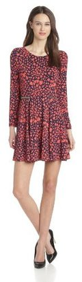 Juicy Couture Women's Jersey Long-Sleeve Heart-Print Fit-and-Flare Dress