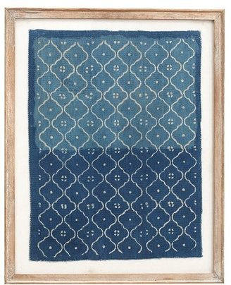 Pottery Barn Framed Hand-Painted Blue Textile Wall Art