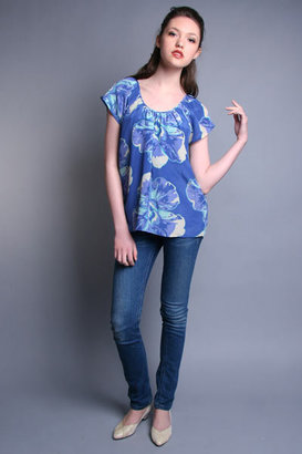 Madison Marcus Periwinkle Hibiscus Blouse