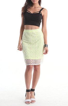 Rehab Eyelet Neon Pencil Skirt