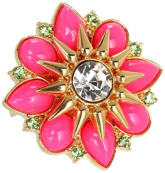Juicy Couture Cabochon Flower Adjustable Ring (Neon Pink) - Jewelry