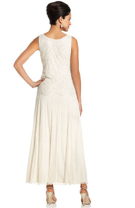 Pisarro Nights Dress, Sleeveless Beaded Lace Gown