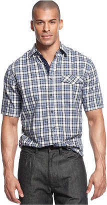 Sean John Big & Tall Shirt, Mini Check Short Sleeve Shirt