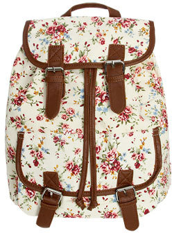 Wet Seal WetSeal Floral Leather Trim Backpack Natural