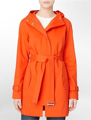 Calvin Klein Cotton Blend Hooded + Belted Trench Coat
