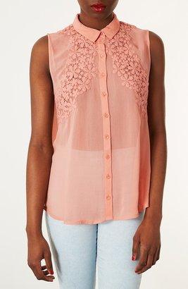 Topshop Floral Crochet Sleeveless Shirt Peach 8