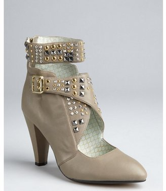 Matiko taupe leather studded buckle strapped 'Tara' ankle boots