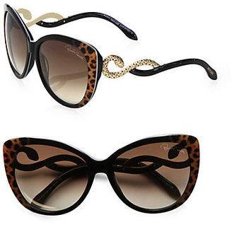 Roberto Cavalli Kurumba Glam Oversized Cat's-Eye Sunglasses/Black