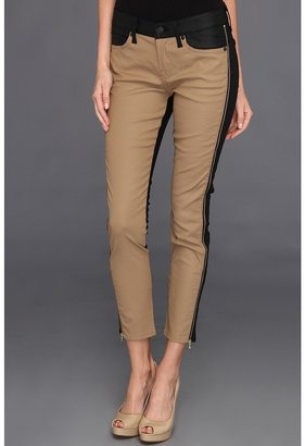 7 For All Mankind Pieced Cropped Skinny w/ Side Zips in Black/Khaki Piecing (Black/Khaki Piecing) - Apparel