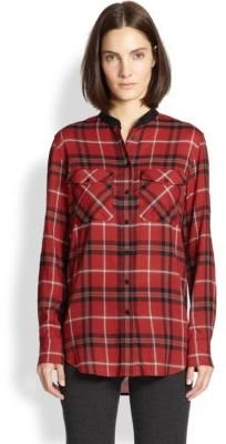 Vince Leather-Trimmed Plaid Shirt