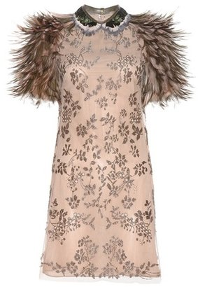 Valentino Bead-embellished Dress With Feathers