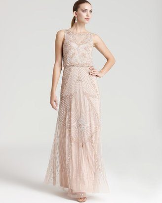 Aidan Mattox Beaded Gown - Sleeveless Cinched Waist