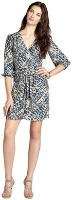 Nell blue and taupe three quarter sleeve wrap dress