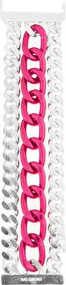 Raf Simons Oversize Silver & Pink Triple Wide Chain Bracelet