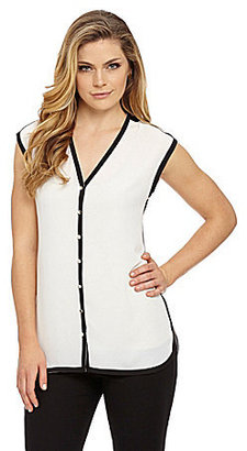 Vince Camuto Piped Button-Front Blouse
