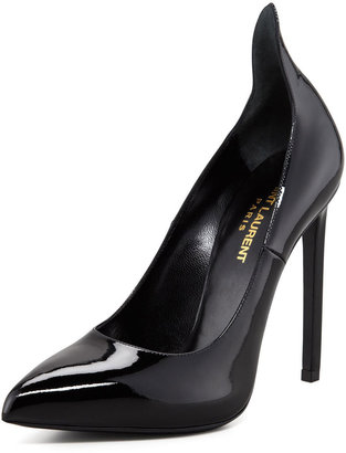 Saint Laurent Patent Leather Pump With Pointed Counter