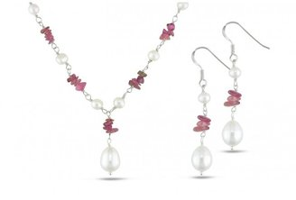 Ice White Freshwater Pearl and Pink Tourmaline Silver Necklace and Earrings Set