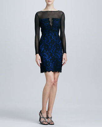 Monique Lhuillier ML Illusion Lace Cocktail Dress