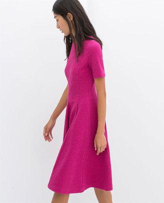 Flared Short-Sleeved Dress