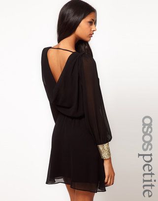 Asos Wrap Dress With Sequin Cuffs