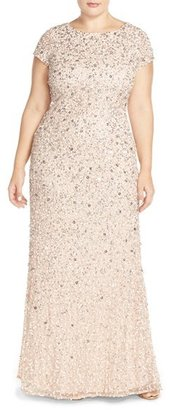 Plus Size Women's Adrianna Papell Embellished Scoop Back Gown $312 thestylecure.com
