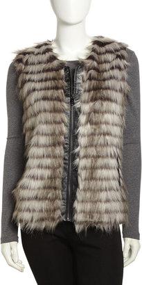 Via Spiga Tiered Faux-Fur Zip Vest, Light Gray