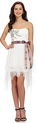 Teeze Me Beaded Applique Corkscrew Mesh Dress