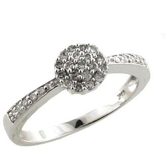 10kt White Gold 1/5ctw Diamond Cluster Ring - (Sizes 6 - 8)