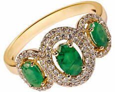 Tag Heuer FINE JEWELLERY Emerald with 0.264 Total Carat Weight Diamond and 14K Yellow Gold Ring