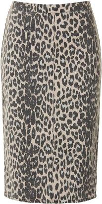 Topshop MOTO Leopard Print Midi Skirt