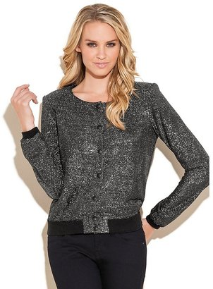 GUESS Metallic Knit Bomber Jacket