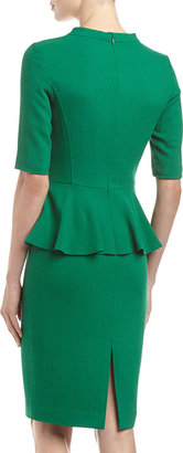 Lafayette 148 New York Crepe-Weave Half-Sleeve Peplum Dress, Jade