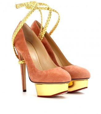 Charlotte Olympia Dolly Braid suede platform pumps