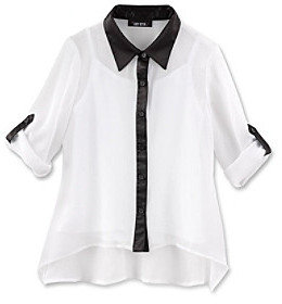 Amy Byer Girls' 7-16 White Piped Button Front Shirt