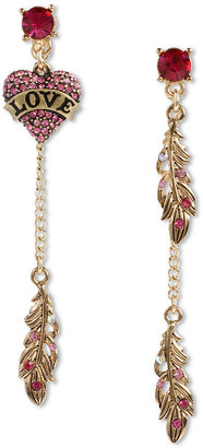 Betsey Johnson Earrings, Gold Tone Love Heart and Feather Mismatch Linear Earrings