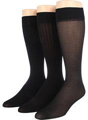 Anne Klein 3-Pack Chevron Trouser/Twin Rib Trouser/Solid Trouser Sock