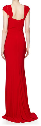 Mark & James by Badgley Mischka by Badgley Mischka Crystal Embellished High-Low Gown, Red