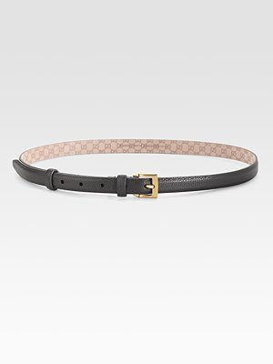 Gucci Square Buckle Skinny Belt