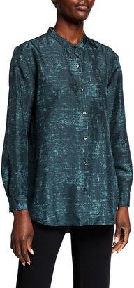 Eileen Fisher Abstract Printed Mandarin Collar Long-Sleeve Shirt
