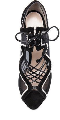 Nicholas Kirkwood Suede & Net Lace Up Heels in Black & White
